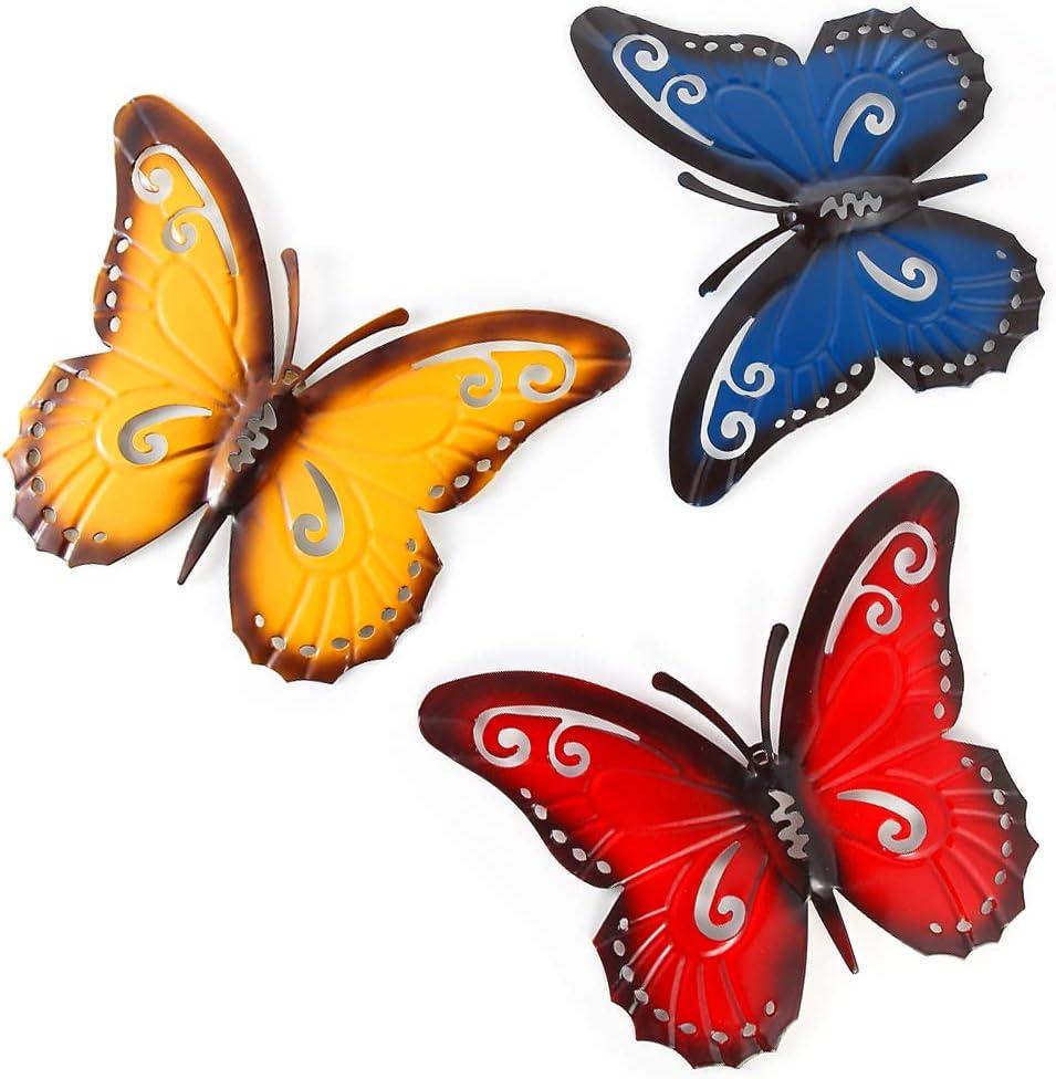 soggiorno in metallo capanno per recinzioni da giardino decorazione per interni ed esterni patio Skelang decorazione da parete a forma di farfalla decorazione da parete
