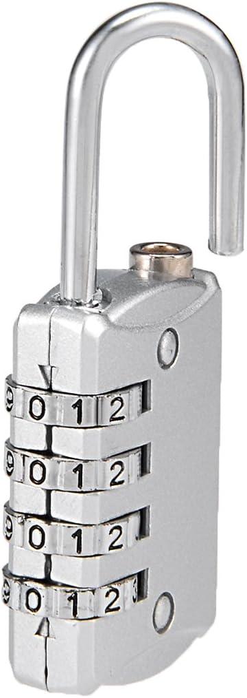 Candado de combinaci/ón de 4 d/ígitos de 4 mm de acero con c/ódigo de grillete