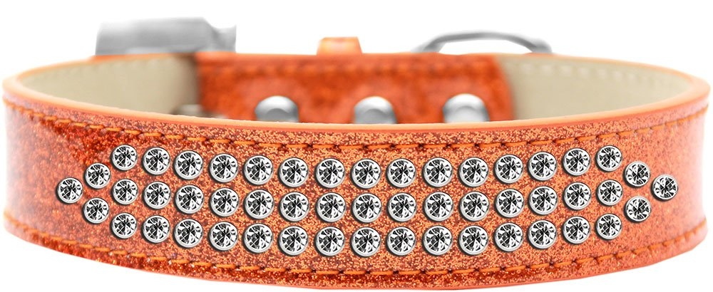 Mirage Pet Products Three Row Clear Crystal Ice Cream Dog Collar, Size 20, Silver