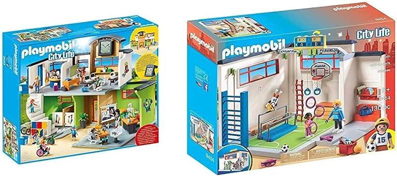 PLAYMOBIL City Life Colegio, a Partir de 5 Años (9453) + City Life Gimnasio, a Partir de 5 Años (9454)