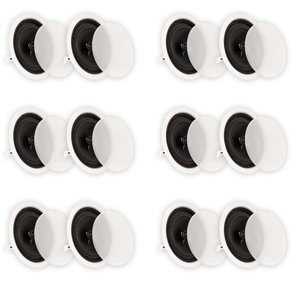 Theater Solutions CS8C In Ceiling 8'' Speakers Surround Sound Home Theater 6 Pair Pack 6CS8C by Theater Solutions