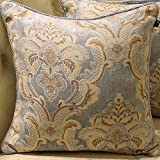 MeMoreCool Luxury European Chenille Court Pillow Covers No Filler Sofa/Car/Office/Hotel Decor Pillow Cover Blue 20 X 20 Inch