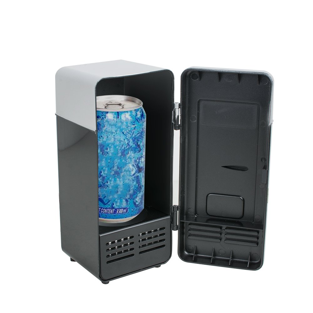 Lolicute Mini USB Fridge Cooler Beverage Drink Cans Beer Cooler/Warmer Refrigerator Laptop PC Computer USB Powered Refrigerator for Home Dorm Travel Office and Car (Black)