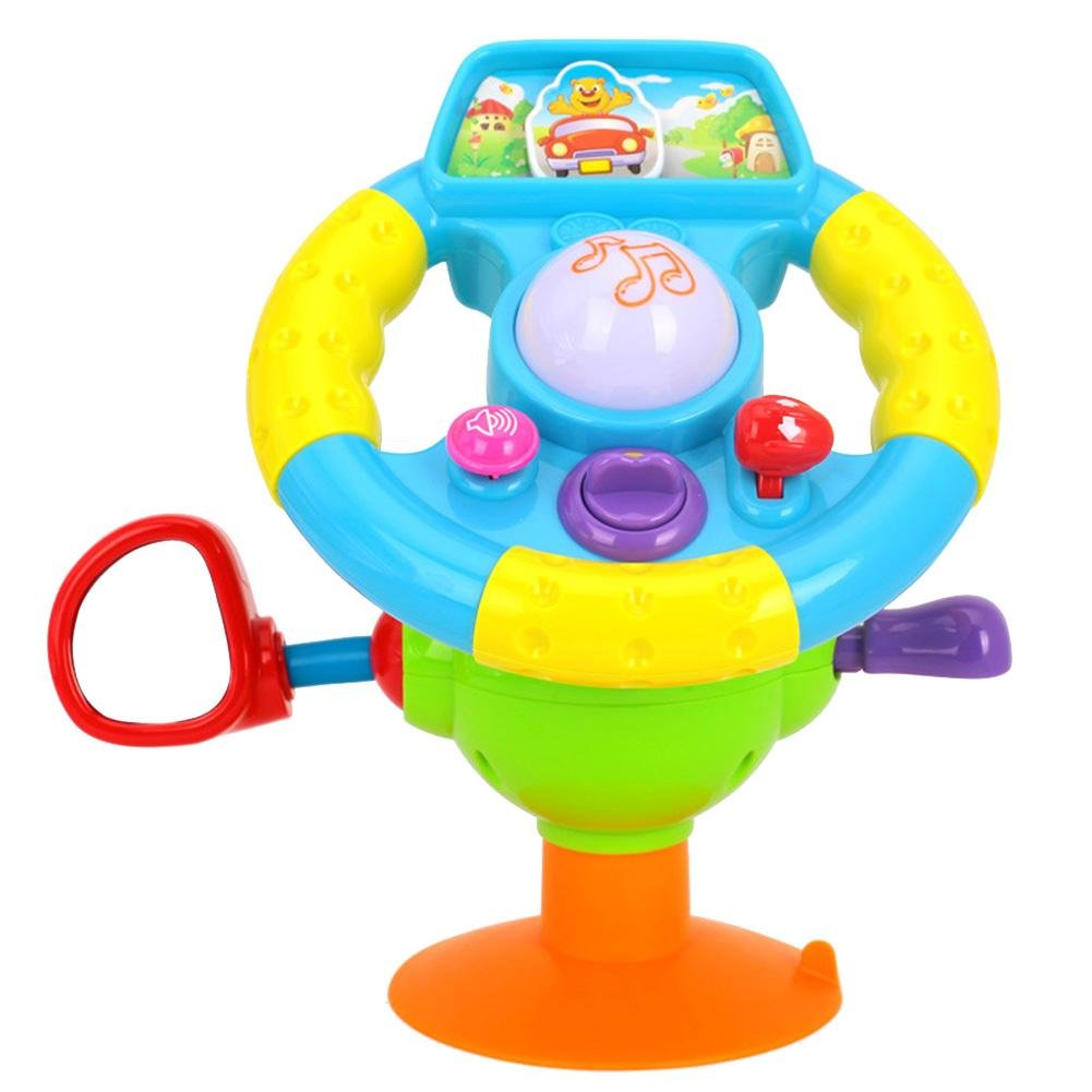 Amazingdeal Fun Early Education Toy Simulation Steering Wheel Baby Driver Music Lights Car Toy Early Education Creative Education Toy