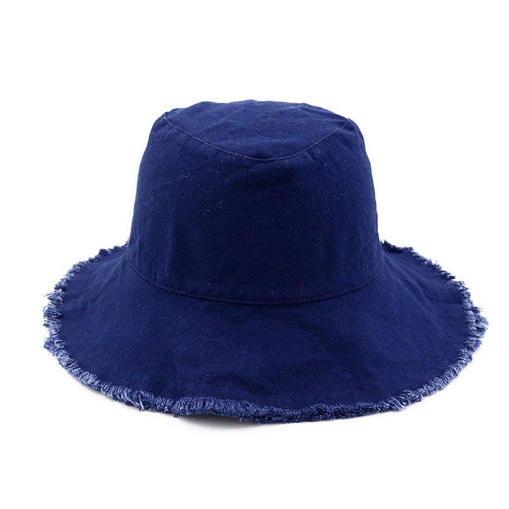 Gaojuan Unisex Reversible Cotton Summer Bucket Bush Hats Casual Wild Hem  Cowboy Hat Collapsible Fisherman Hat Sun Protection Sun Shade Travel Cap  Korean ... 057e4904b0c6