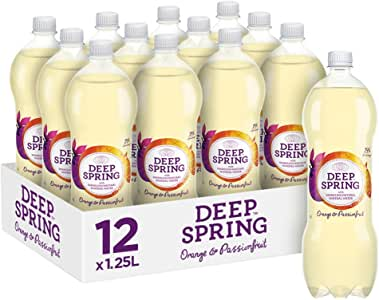 Deep Spring Sparkling Mineral Water Orange Passionfruit, 12 x 1.25 l