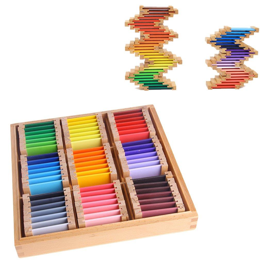 ECMQS Montessori Sensorial Mat/ériel dapprentissage Couleur Tablette Box 1//2//3 Bois Jouets