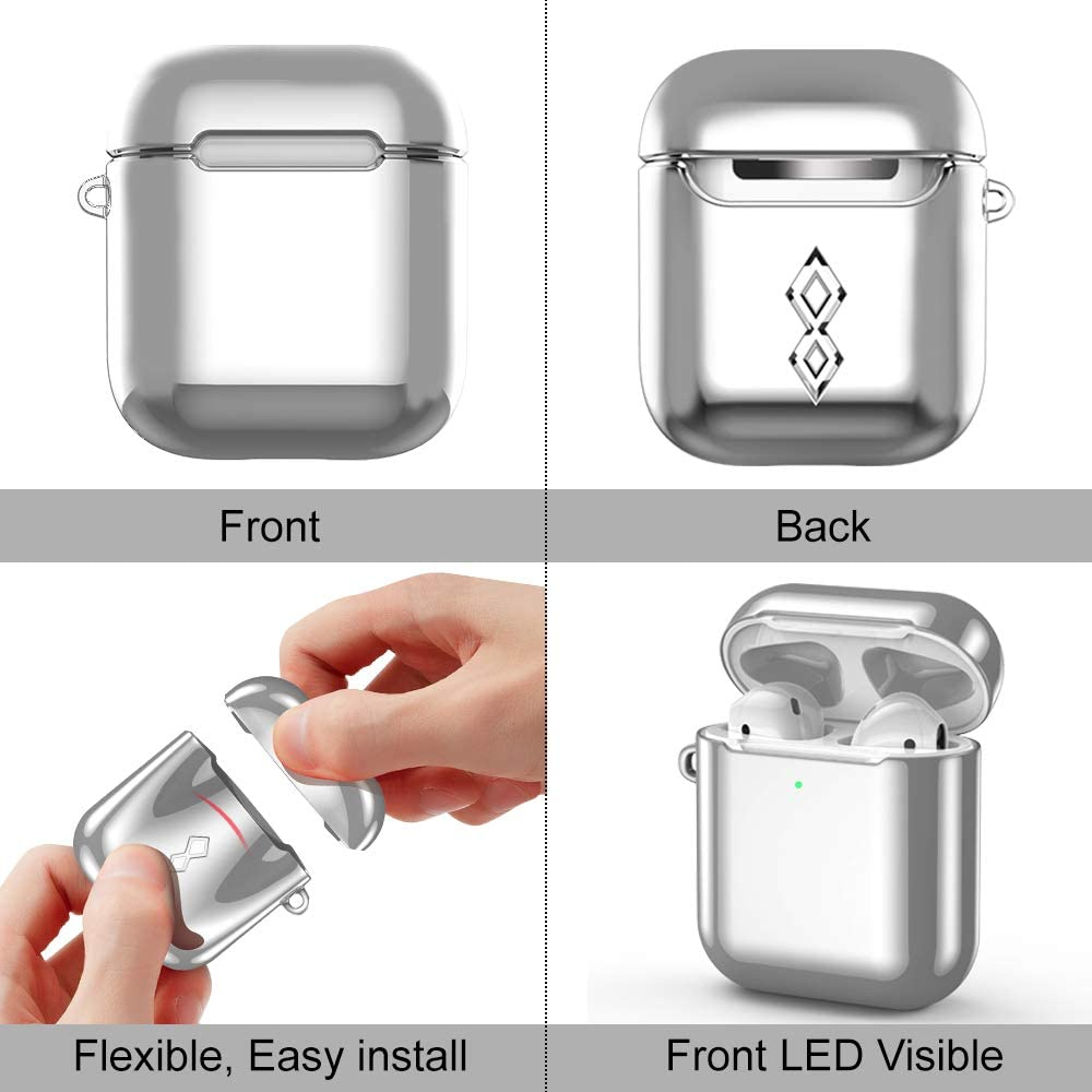 Keychain Reset Button Design COSANO Airpods Case Compatible for E-Gold 1st and 2nd Gen for Airpods 2 /& 1 Airpods Accesssories Front LED Visible Shockproof Protective Soft Cover with