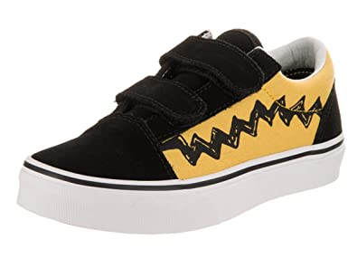 952f7ec9737 Vans Kids Old Skool V (Peanuts) Charlie Brown Black Skate Shoe 2 Kids