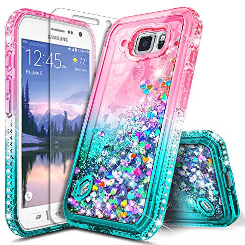Galaxy S6 Active Case w/[Tempered Glass Screen Protector], NageBee Glitter Liquid Quicksand Waterfall Flowing Sparkle Bling Diamond Girls Cute Case for Samsung Galaxy S6 Active (G890) -Pink/Aqua ()