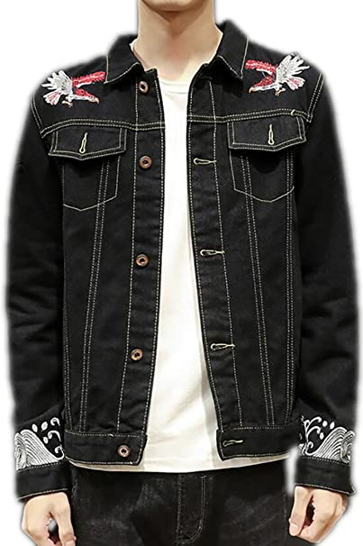 Ld Mens Vintage Button Down Lapel Collar Embroidery Jean Jackets At