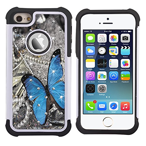 iPhone 5s Case, iPhone SE Case, UrSpeedtekLive [Shock Absorption] Dual Layer Hybrid Defender Protection Rhinestone Crystal Bling Cover Case for iPhone SE/5/5S, BlueButterfly