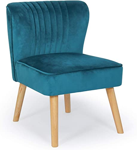 Small Velvet Armless Accent Chair