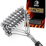 Mountain Grillers GRILL BRUSH Bristle Free - Best BBQ Brush To Prevent Flare Ups For That Perfect Checkerboard Steak - Easily Cleans Metal Grills and Porcelain Grates without Damage