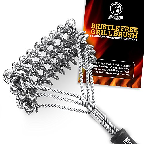 Mountain Grillers GRILL BRUSH Bristle Free - Best BBQ Brush To Prevent Flare Ups For That Perfect Checkerboard Steak - Easily Cleans Metal Grills and Porcelain Grates without (Free Steak)