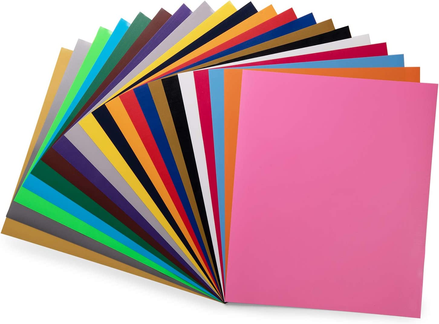 """PU HTV Vinyl Bundle 20 Pack 20 Assorted Colors 12""""x 10"""" Sheets, Iron On Heat Transfer Vinyl for Cricut & Silhouette Cameo, Easy to Cut & Weed Adhesive Vinyl for Design DIY T-Shirts and Clothes: Home & Kitchen"""