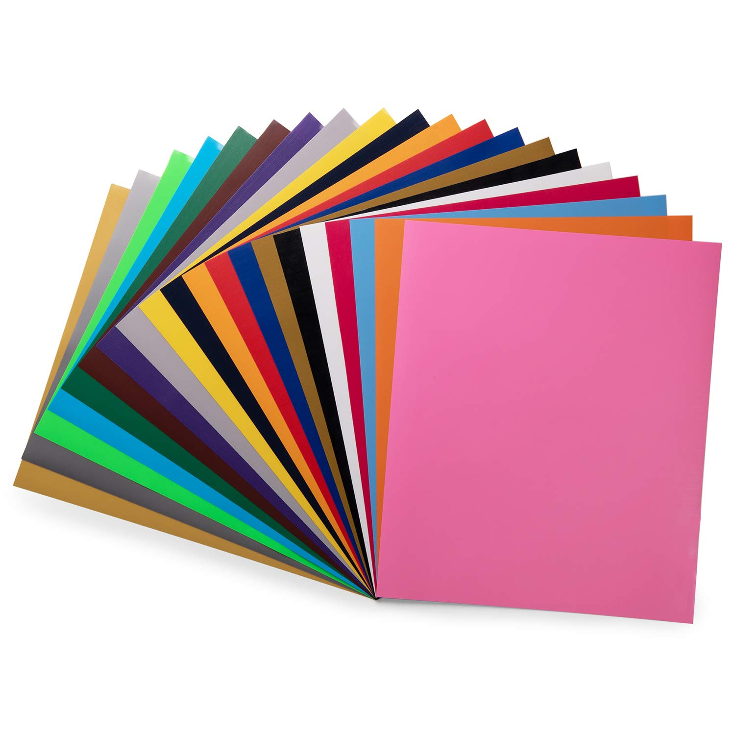 PU HTV Vinyl 20 Pack 20 Assorted Colors 12''x 10'' Sheets, Iron On Heat Transfer Vinyl Bundle for Cricut & Silhouette Cameo, Easy to Cut & Weed Adhesive Vinyl for Design DIY T-Shirts and Other Textiles by Honeytolly