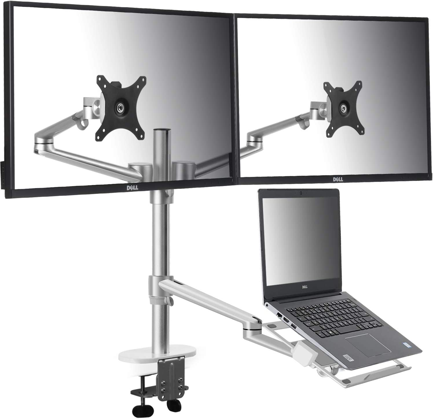viozon Monitor and Laptop Mount, 3-in-1 Adjustable Triple Monitor Arm Desk Mounts, Dual Desk Arm Stand/Holder for 17 to 27 Inch LCD Computer Screens, Extra Tray Fits 12 to 17 inch Laptops (OL-10T-S)
