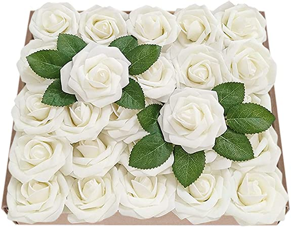 YINGSHENG Rosas Artificiales de Flores, 25 Piezas de Espuma Falsa ...
