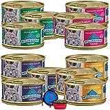 Blue Buffalo Wilderness Cat Food Variety Bundle - Grain Free Gourmet Pate 4 Flavors - 12 Pack (Chicken,Turkey,Duck & Salmon) (36 Ounce Total) W/Bonus HotSpot Pets Travel Bowl