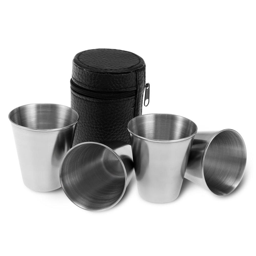 【海外限定】 WJY ステンレススチールカップ鉛筆カップ ブラックPUレザーケース BPAフリー 金属製ドリンクカップ B07C4SYXYJ 4個 ハイキング BPAフリー WJY ピクニック キャンプ 旅行に最適 B07C4SYXYJ, WAAZWIZshop:3ac356af --- lanmedcenter.ru