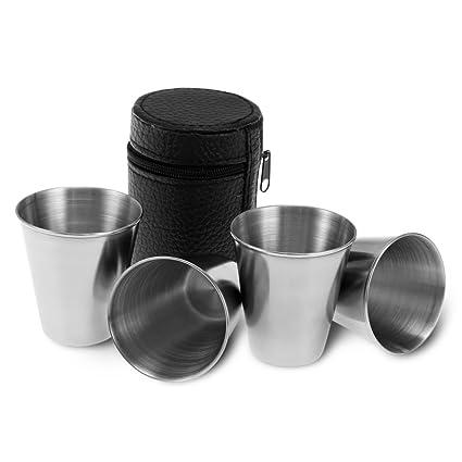 Amazon.com: WJY 4 piezas de taza de acero inoxidable con ...