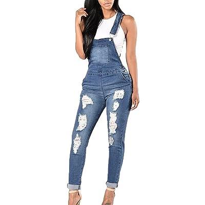 Nouveaux Vêtements Femme Denim Jumpsuit Dungaree Sports Pants Blue