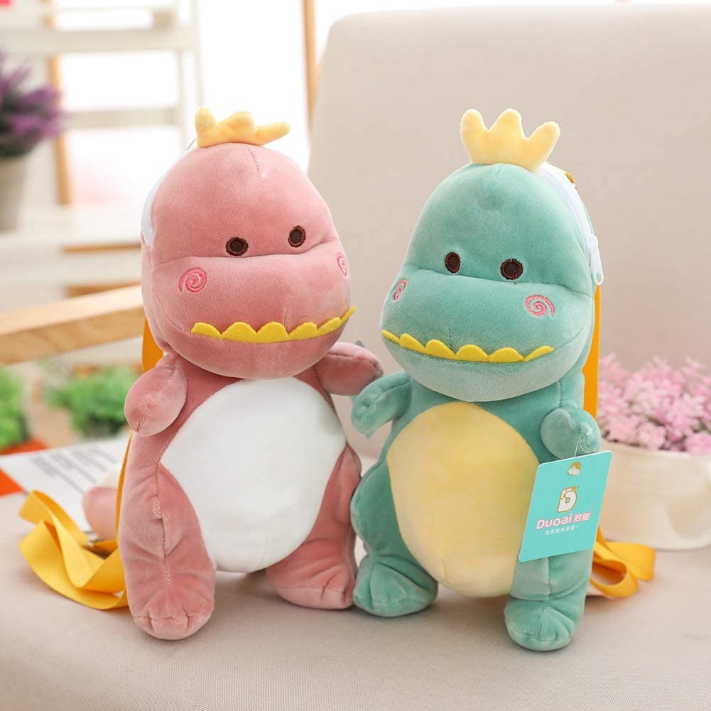 Pink LApapaye Dinosaur Stuffed Toy Backpack,Single Strap Plush Small Backpack