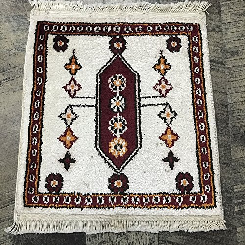 Yilong Carpet 1' x 1' Small Square Handmade Silk Carpet Qum Persian Rug Oriental Mat (1 Feet by 1 Feet, Ivory) Y269C1x1 Qum Silk Rugs