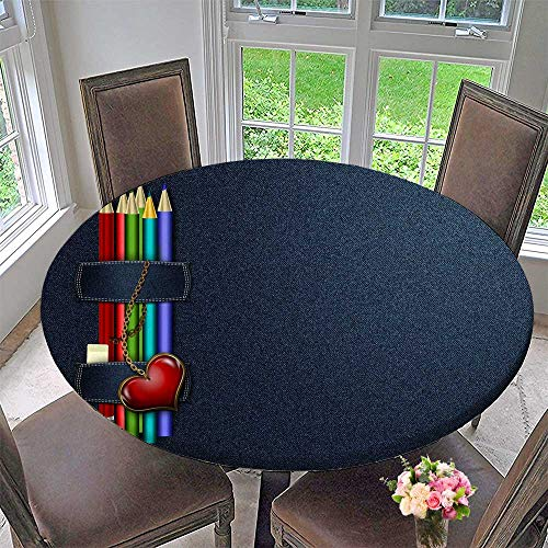(Mikihome Round Table Tablecloth The Story of Colorful Lead and Notepad for Wedding Restaurant Party 55