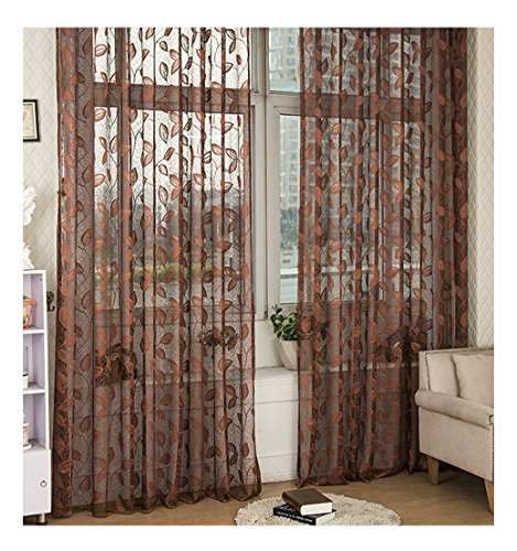 ASide BSide Floral Pattern Wrap Knitting Jacquard Sheer Curtains Rod Pockets Semi Transparent Panels Treatments For Living Room Dining Room and Kids Room (1 Panel, W52 x L63 inch, Deep Coffee) (Jacquard Rod Pocket Curtains)