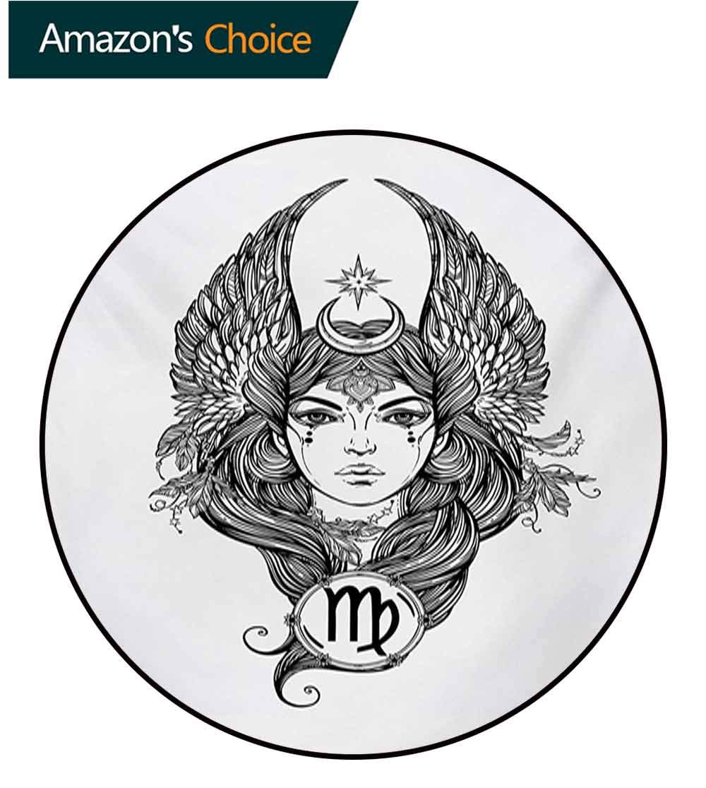 RUGSMAT Virgo Carpet Gray Round Area Rug,Black and White Monochrome Drawing of A Woman with Long Hair and Wings Horoscope Pattern Floor Seat Pad Home Decorative Indoor,Diameter-71 Inch by RUGSMAT (Image #3)