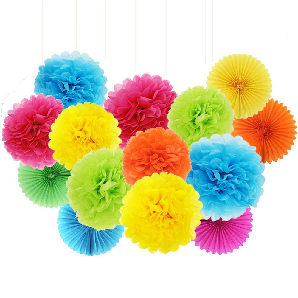 ZJHAI Set of 20 Rainbow Color Paper Pom Poms and Paper Folding Fans, 5 Colors, for Decorating Party, Shop or Wedding