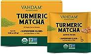 VAHDAM, Turmeric + Matcha Superfood Elixir Mix - 10 Servings | USDA Organic Turmeric Matcha Powder | Aids in Improving Focus