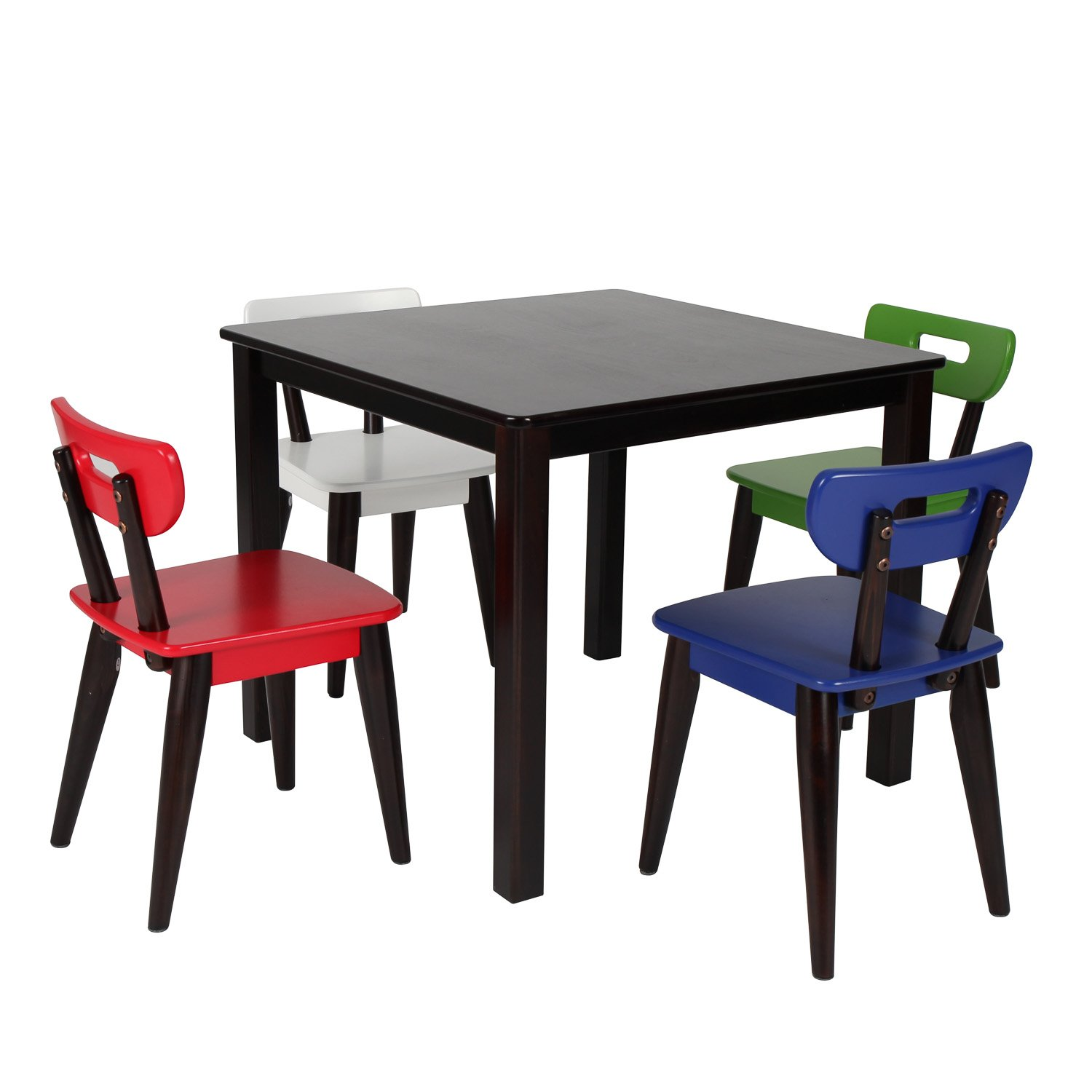 Max & Lily Espresso Wood Kid and Toddler Square Table + Modern Chairs (Blue, Red, Green, White) Maxwood Furniture Inc. 15-4640-005