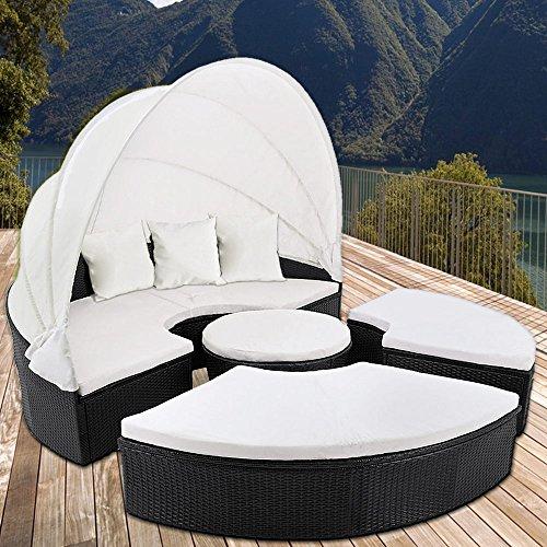 Canapé de jardin en polyrotin noir Ø 185 cm pare-soleil et coussins ...