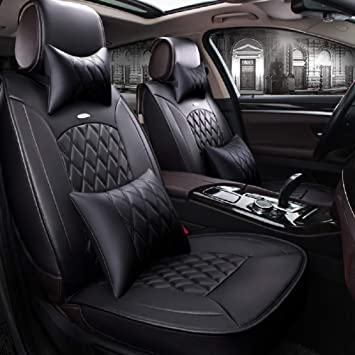 Black Gray Car Seat Cover 5-seat Front Rear Cushion HeadRest Protector Universal