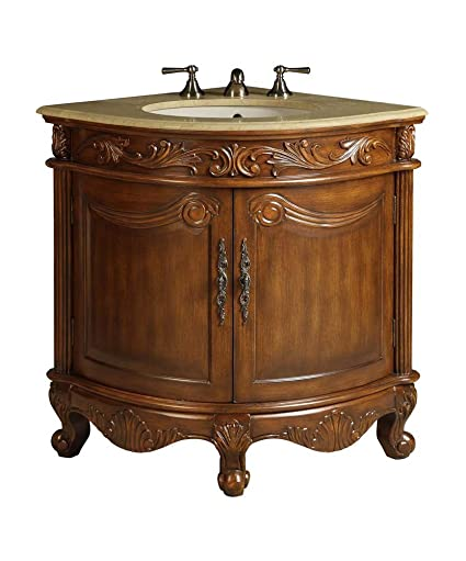 Chans Furniture 24u0026quot; Space Saver Corner Shape Bathroom Vanity   Model  BC 030M Bayview