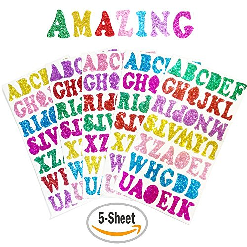 5 Sheets 210PCS Colorful Glittery Foam Self Adhesive Letters Stickers,Foam Letter Stickers Alphabet for Kid's Arts Craft Supplies Greeting Cards Scrap Books Home Decoration