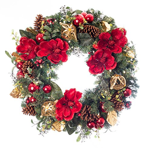 Outdoor Lighted Artificial Christmas Wreaths - 5