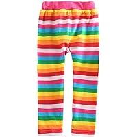 VIKITA Leggings para Niñas Rayas Algodón Primavera Verano Linda Rainbow Pantalones 1-7 años