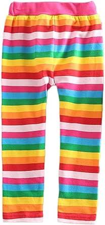 VIKITA Leggings para Niñas Iris Rayas Algodón Primavera Verano Linda Pantalones