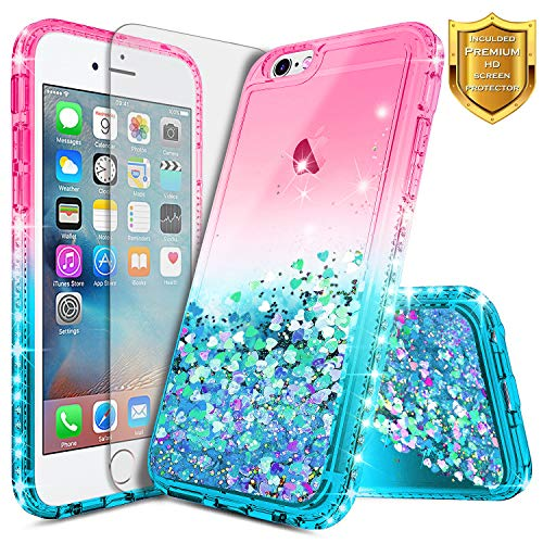 iPhone 6S Case, iPhone 6 Glitter Case w/[Screen Protector Premium Clear], NageBee Liquid Quicksand Waterfall Floating Flowing Sparkle Shiny Bling Diamond Shockproof Girls Cute Case -Pink/Aqua