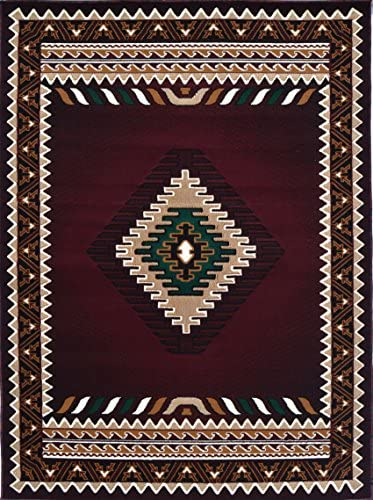 Rugs 4 Less Collection Southwest Native American Indian Area Rug Design R4L 143 Burgundy/Maroon 8'X10'