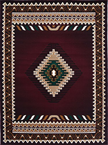 Rugs 4 Less Collection Southwest Native American Indian Area Rug Design R4L 143 Burgundy / Maroon (8'X10') by Rugs 4 Less