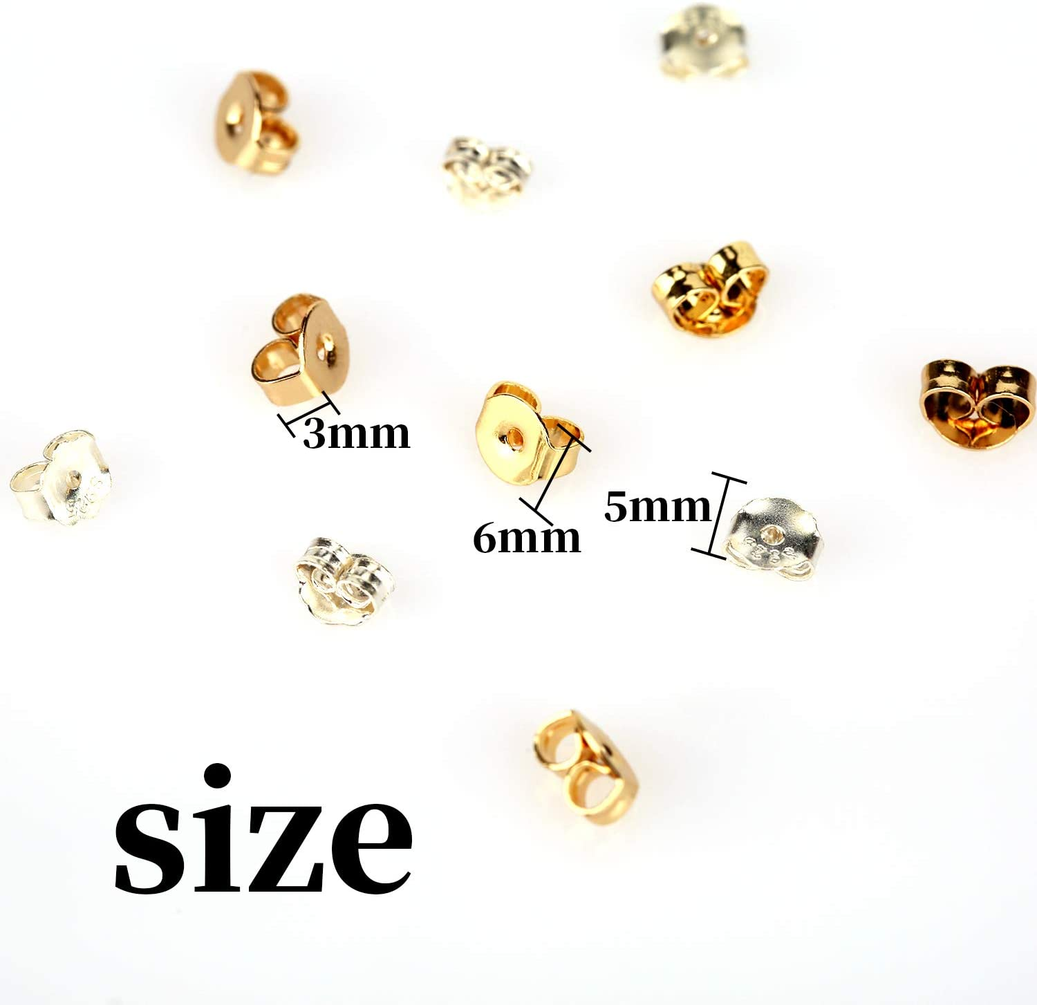 6/×5mm AIEX 12pcs//6 Pairs Earring Backs 925 Sterling Silver 14k Gold Replacement Secure Ear/Locking for Stud Earrings Jewelry Making Silver Gold