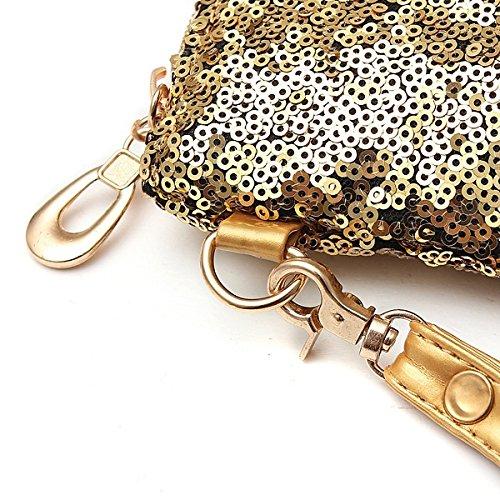 Purse Chain Lady Handbag Strap Sequin Bag Black one size Evening Sparkling Clutch Silver Glitter Women wRqBxTnUB