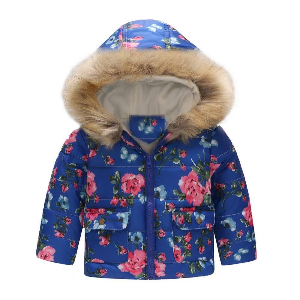 Lurryly❤Girls Boys Toddler Kids Floral Warm Winter Coat Jacket Outerwear Hooded Tops 1-6T /✿/✿---------------------------/✿/✿
