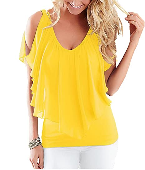86bc3493e8218 Lealac Women s Summer Sexy Casual V Neck T-shirt Plus Size Cold Shoulder  Loose Chiffon Blouse Tops at Amazon Women s Clothing store