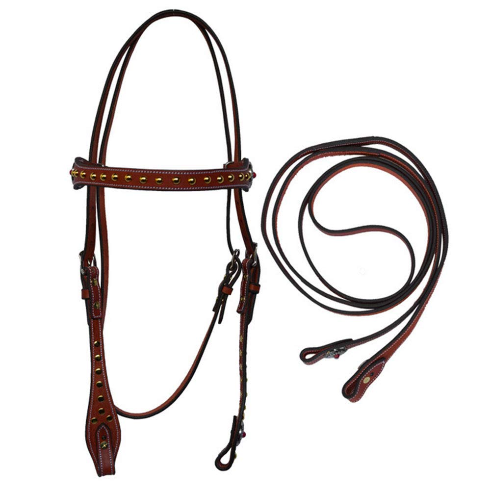 PAHRU cowhide material Bridle durable Side Pull Bitless Horse Bridle Adjustable size competitions